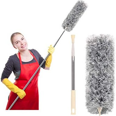 Microfiber Duster for Cleaning with Extension Pole (Stainless Steel)