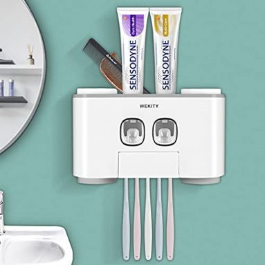 Multi-Functional Toothbrush Holder and Toothpaste Dispenser (Wall Mounted)
